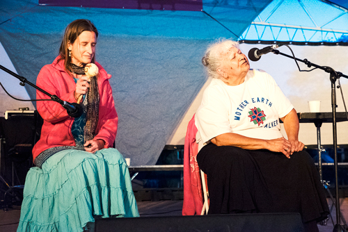 Ele-Elleid (left) and Maryellen Baker (right), an Anishinaabe Elder from the Lac Courte Oreilles Reservation in Wisconsin and founder of a Cultural Healing Center called Abiinooji-Aki (Children's Land). This photo was taken at The Times of the Purification Gathering on Mother's Day when Maryellen led a Women and Water Honoring and Healing Ceremony.